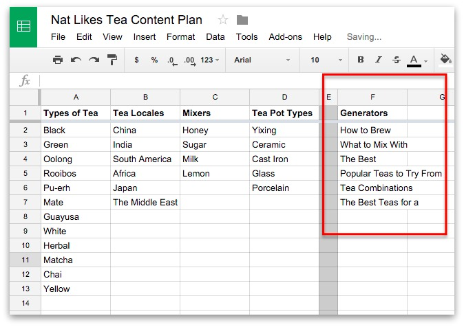 Screenshot showing content generators on a google spreadsheet