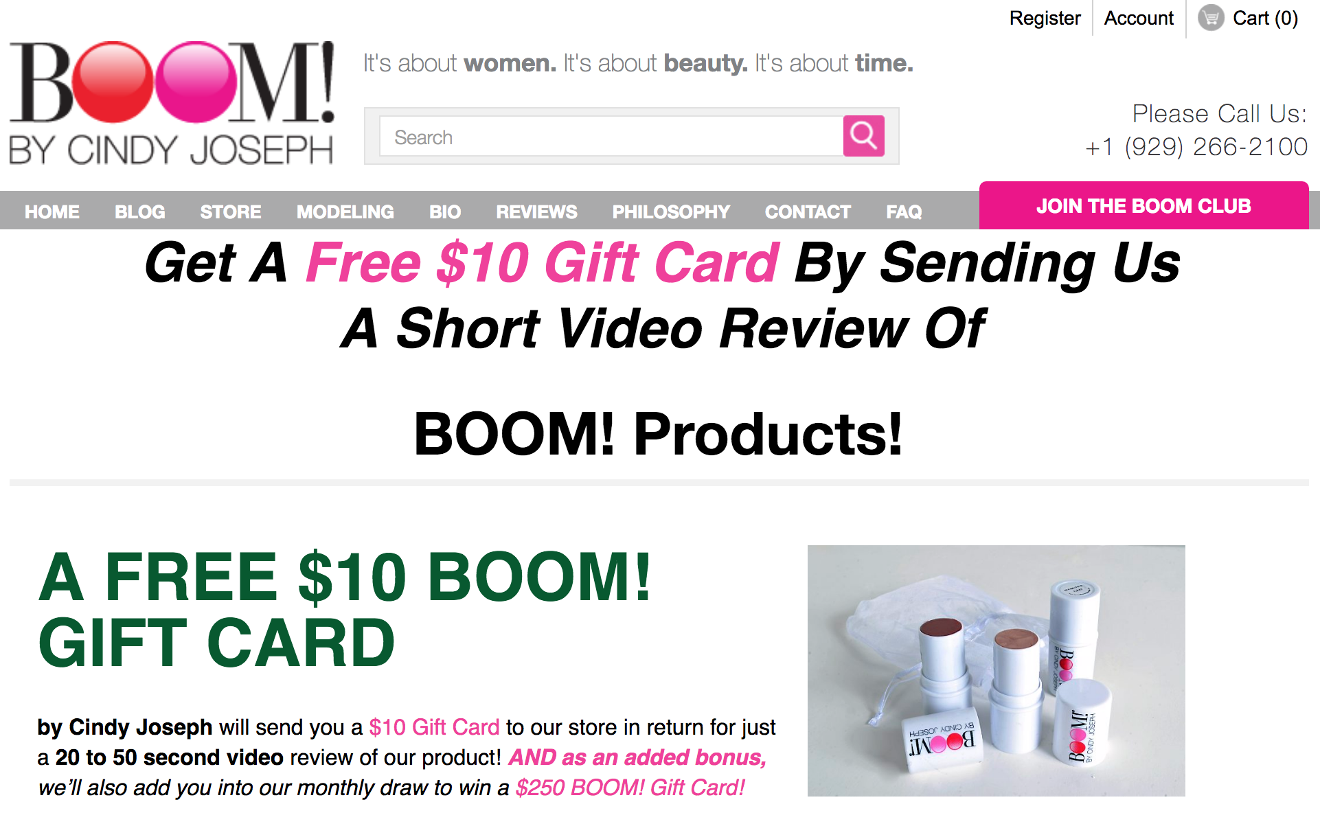 Screenshot showing a gift card offer by BOOM! by Cindy Joseph
