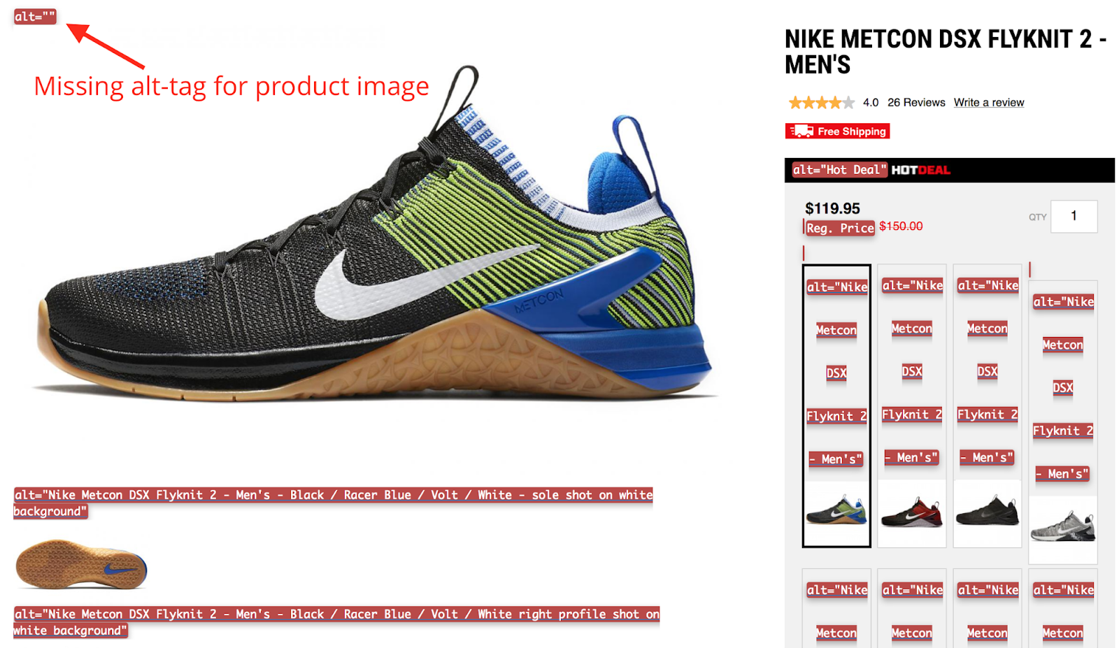 Screenshot showing a product page for a shoe