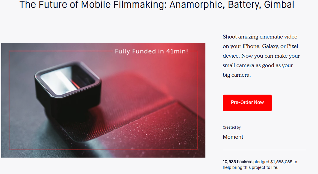 Screenshot of a pre-order landing page for a filmmaking device