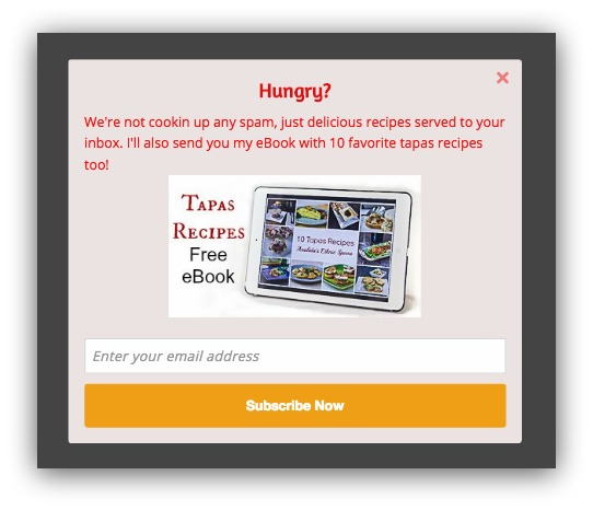 cookbook popup example