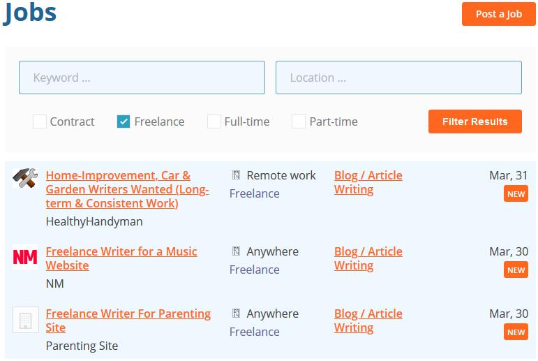 Screenshot of  ProBlogger job board