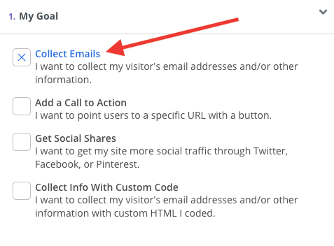 Screenshot of steps of selecting Collect Emails as goal