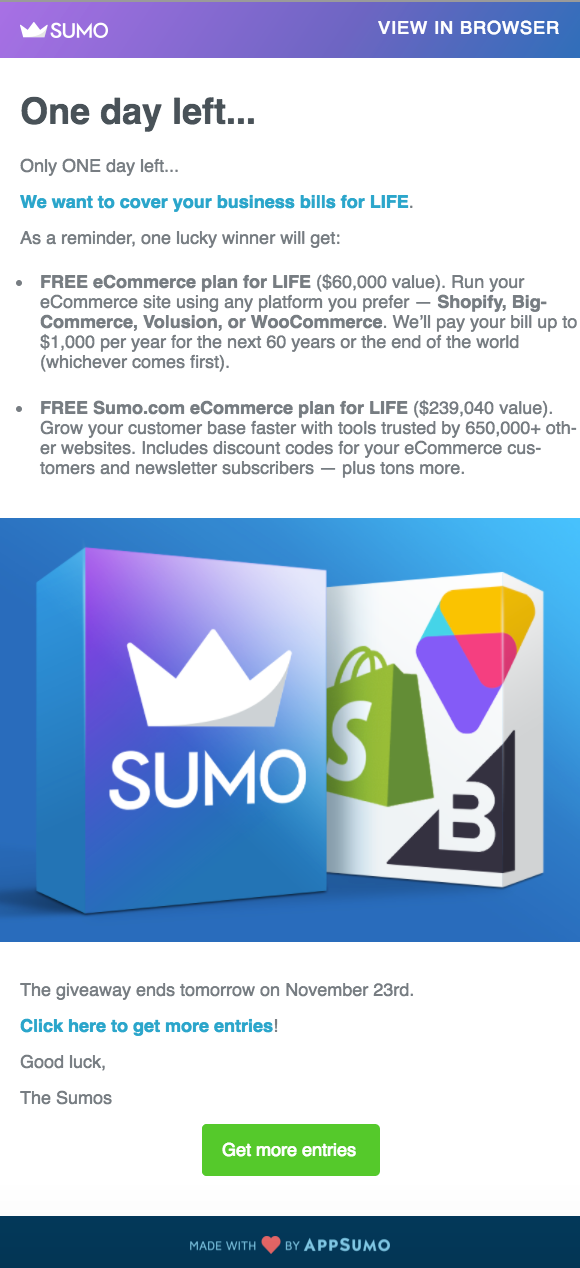 Screenshot showing an email by Sumo