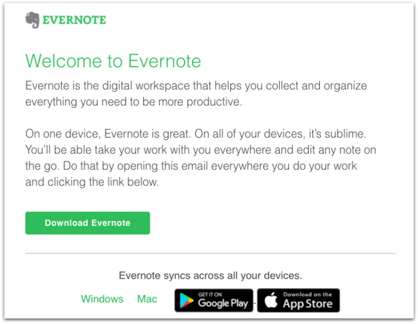 evernote automated email template