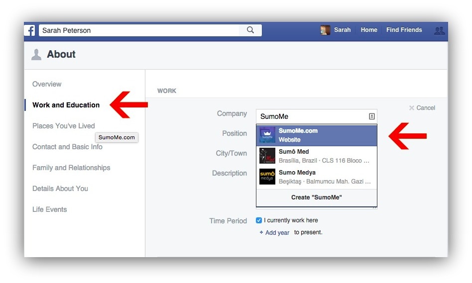 Screenshot showing how you can update your Facebook info