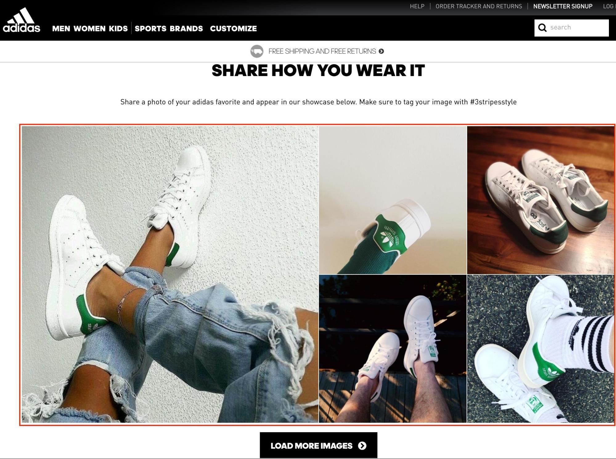 Screenshot showing adidas