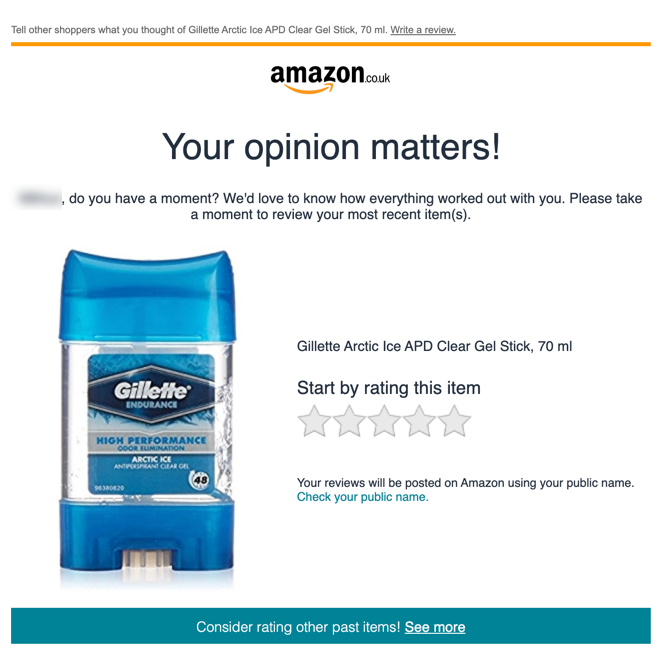 Review Request Email from Amazon