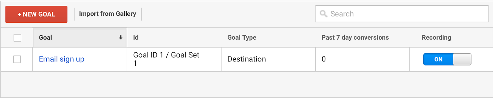 Guild for set up a lead capture goal in google analytics -email sign up