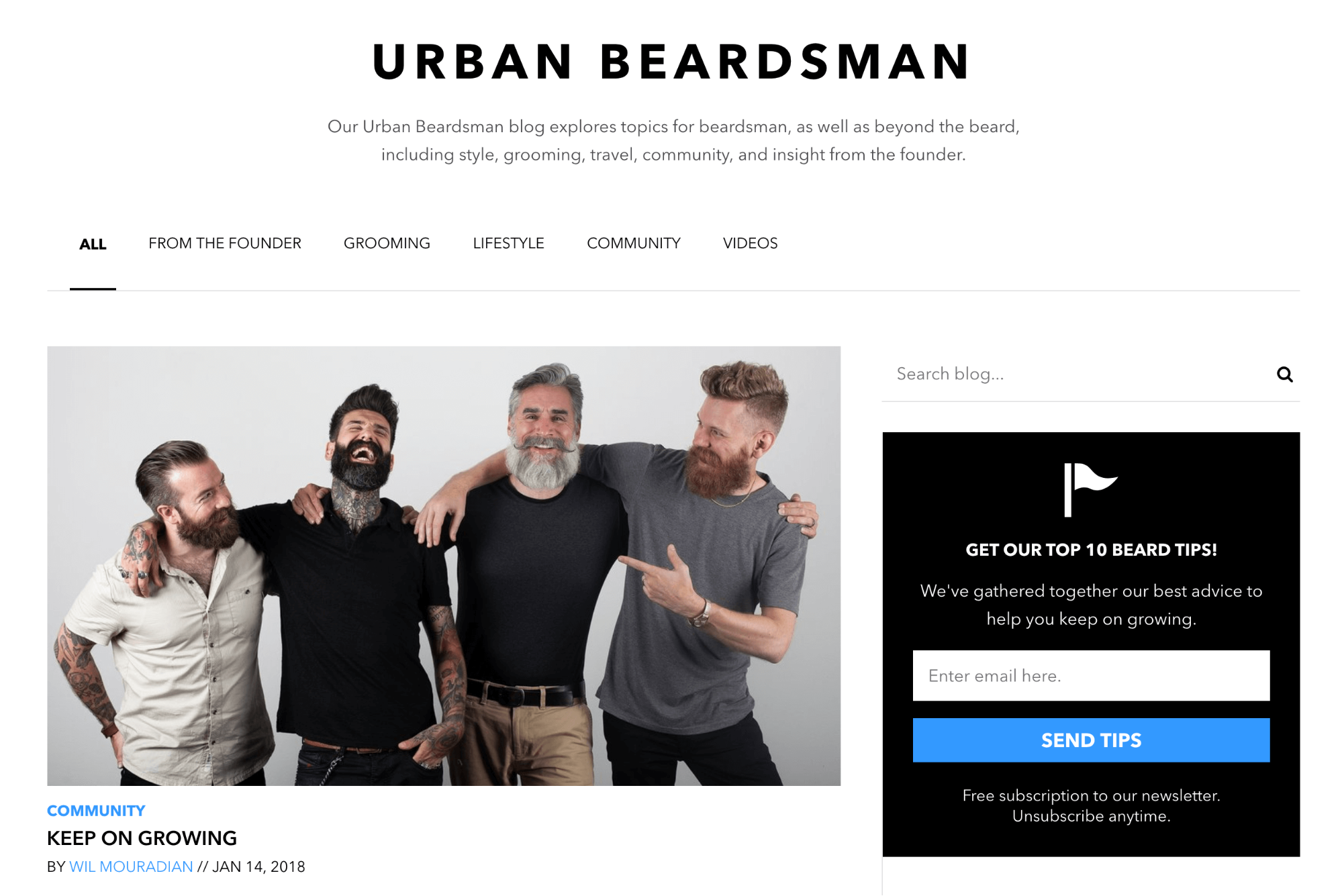 Screenshot showing a page on urban beardsman