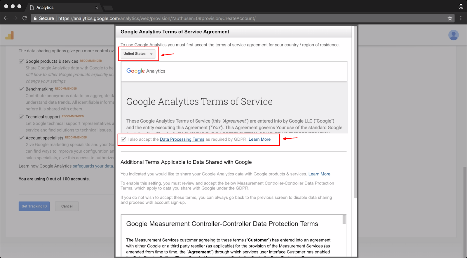 Screenshot showing google analytics terms