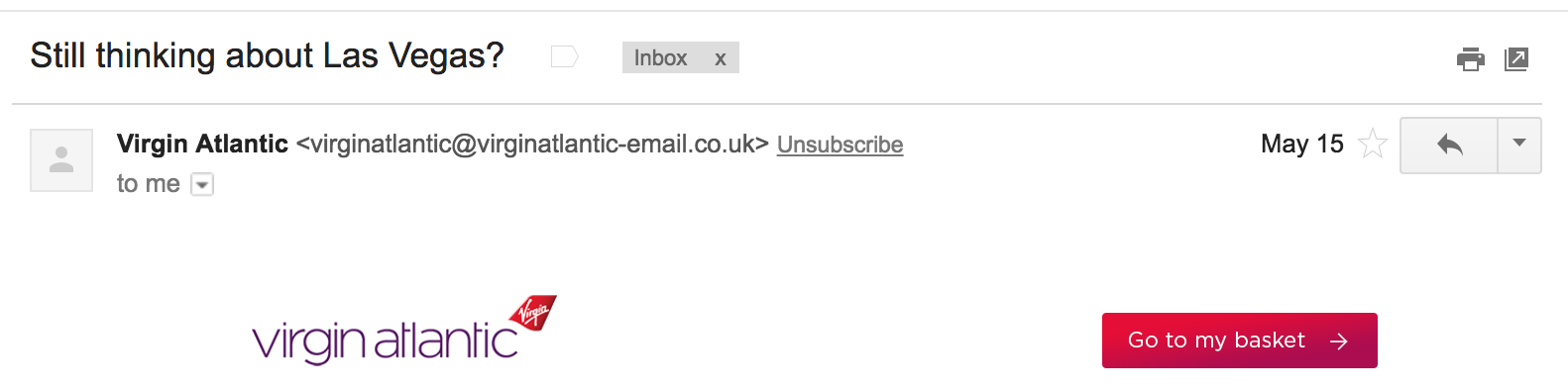 Best Email Subject Lines: Screenshot of email from Virgin Atlantic