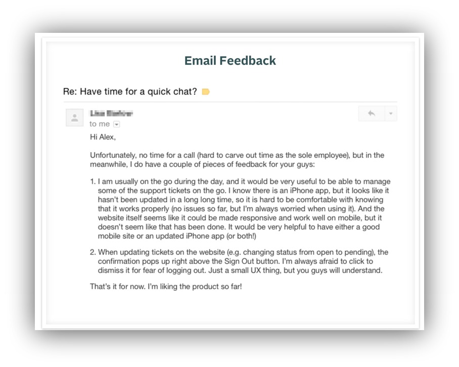 email feedback