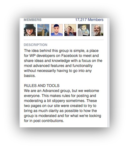 Screenshot showing the description for a facebook group