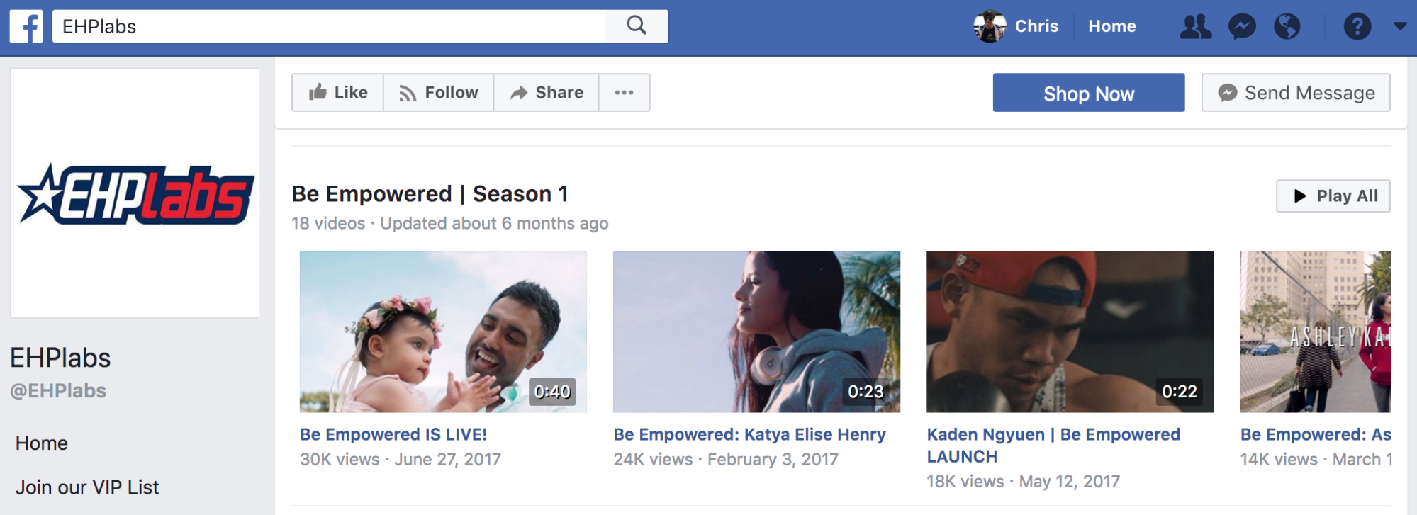 Screenshot showing Facebook videos by EHPlabs