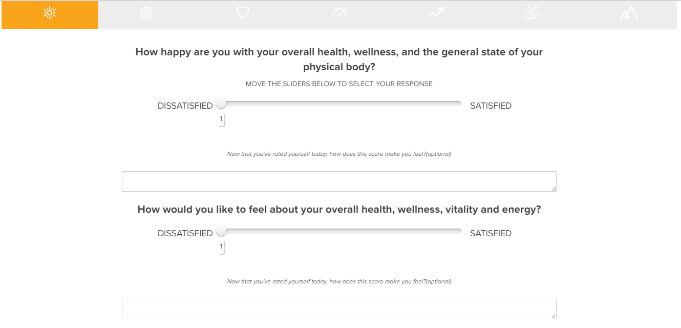 Screenshot of a questionnaire on Tony Robbins