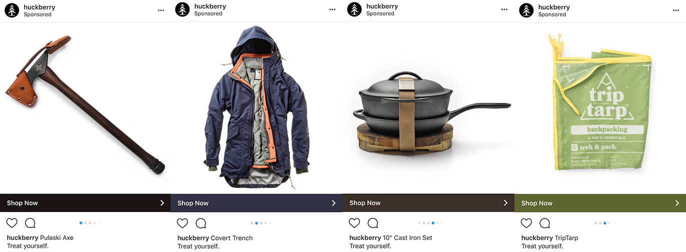 Screenshot showing instagram posts by huckberry