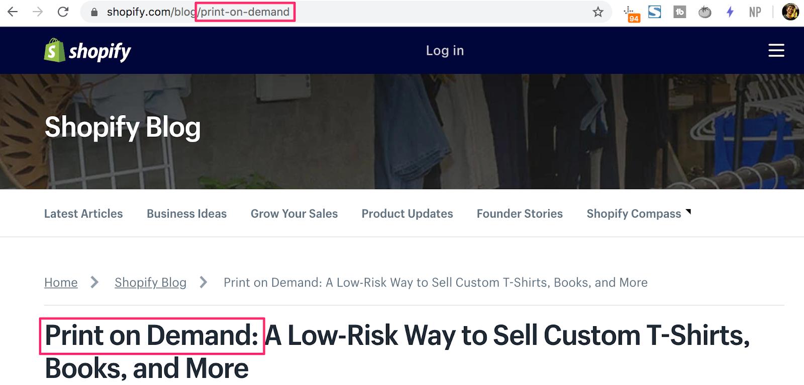 Screenshot of shopify blog : Print on Demand