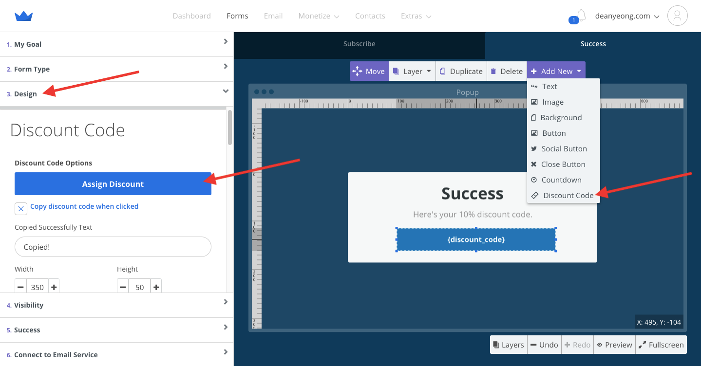 Screenshot of steps to set up exit popup in Sumo