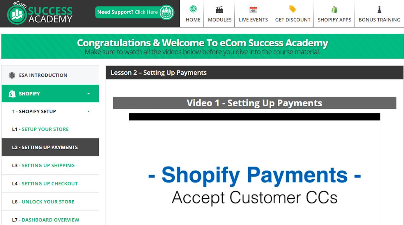 Screenshot showing a course
