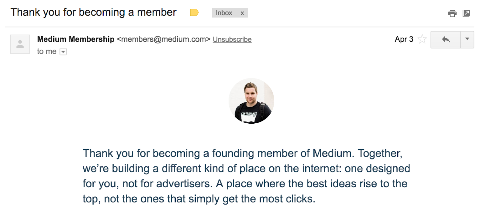 Best Email Subject Lines: Screenshot of email from Medium