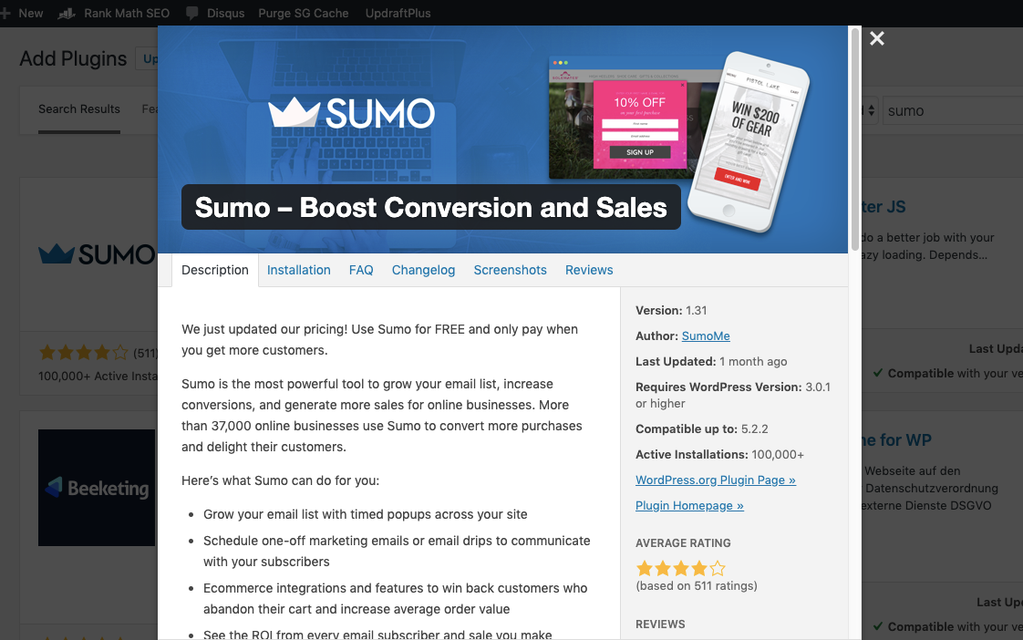Screenshot of Sumo WordPress plugin