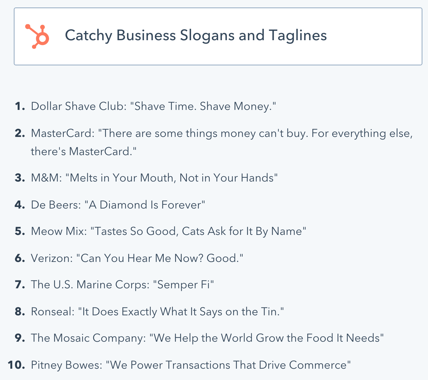 Screenshot showing catchy business slogans and taglines
