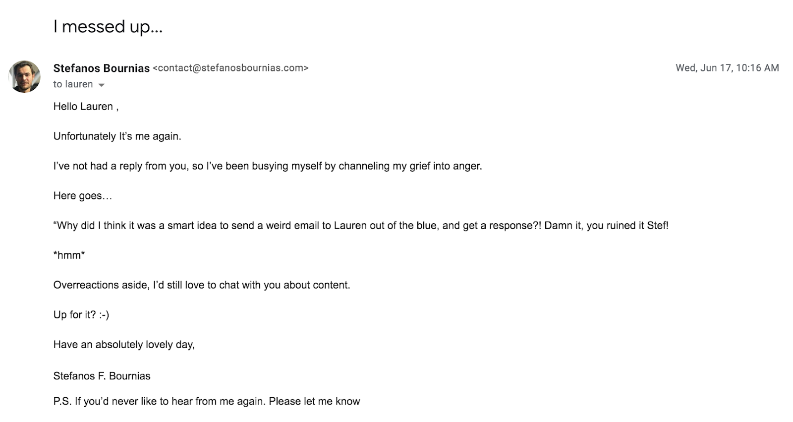 second follow-up email to Lauren