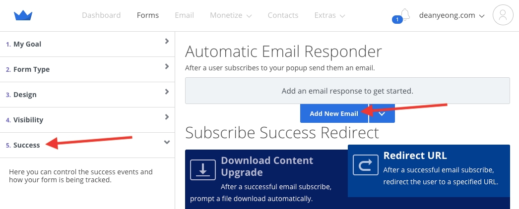 Screenshot of steps to add new email in the Automatic Email Responder section in Sumo