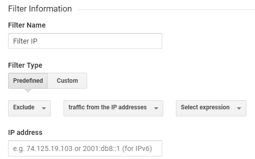 Screenshot showing Google Analytics filter settings