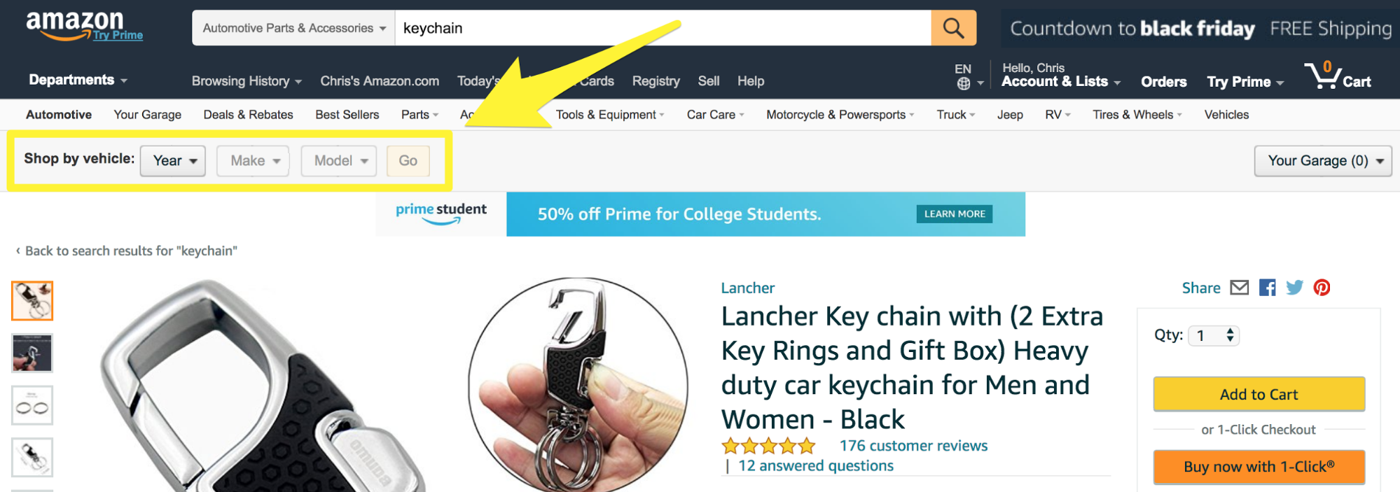 "Screenshot showing the ""shop by vehicle"" option on amazon"