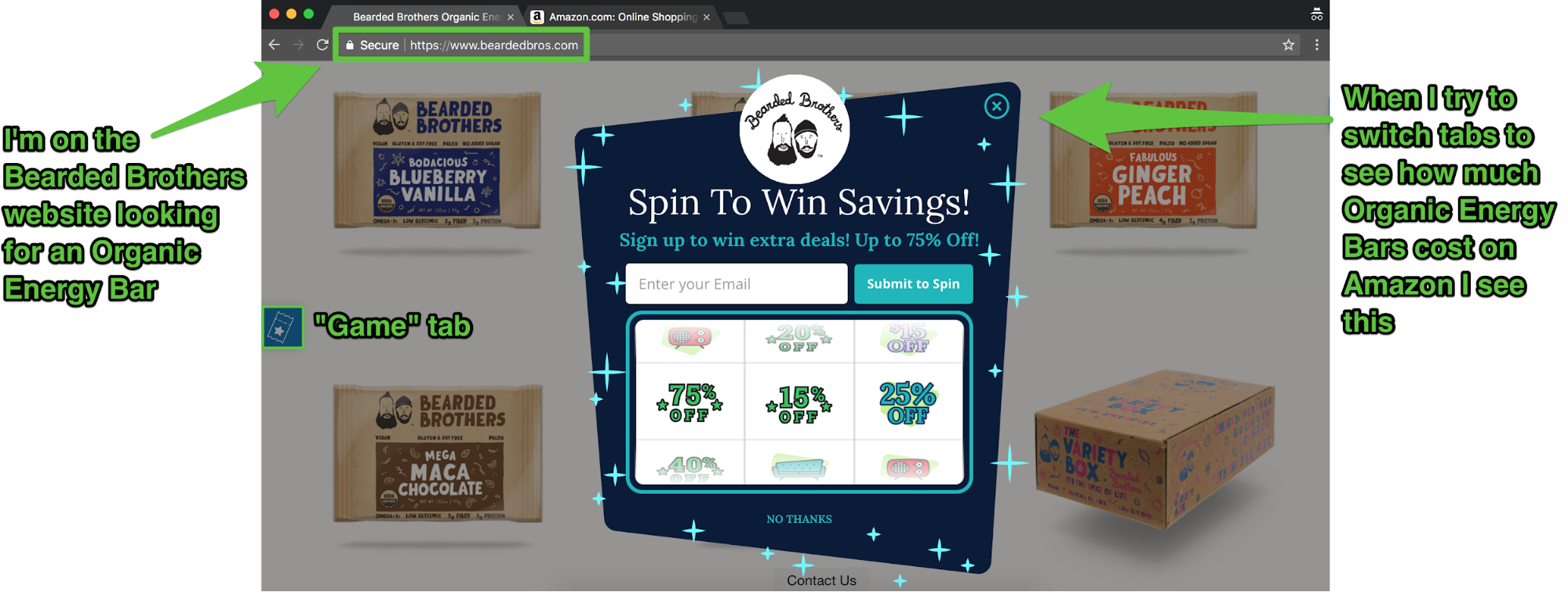 Screenshot showing a Sumo cart casino popup