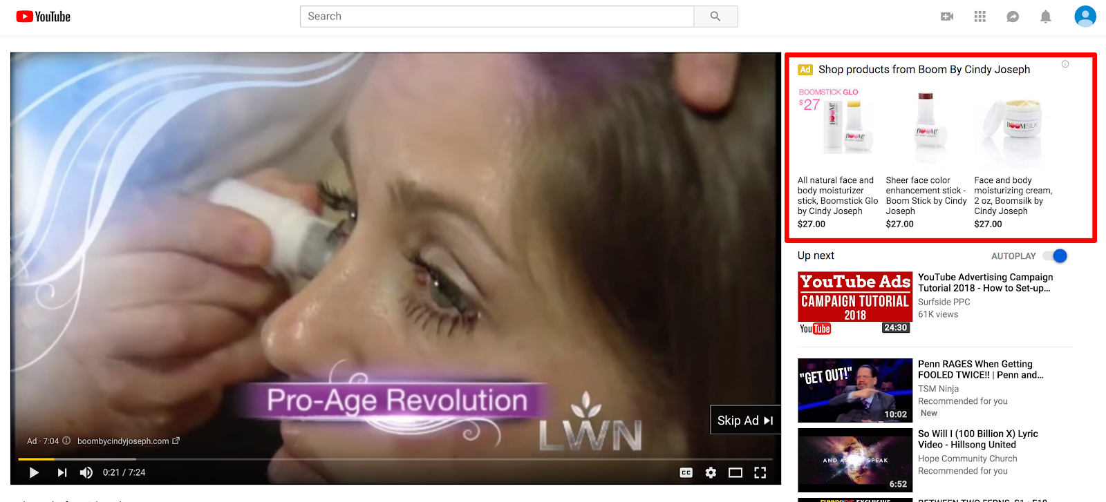 Screenshot showing a section on a youtube video page