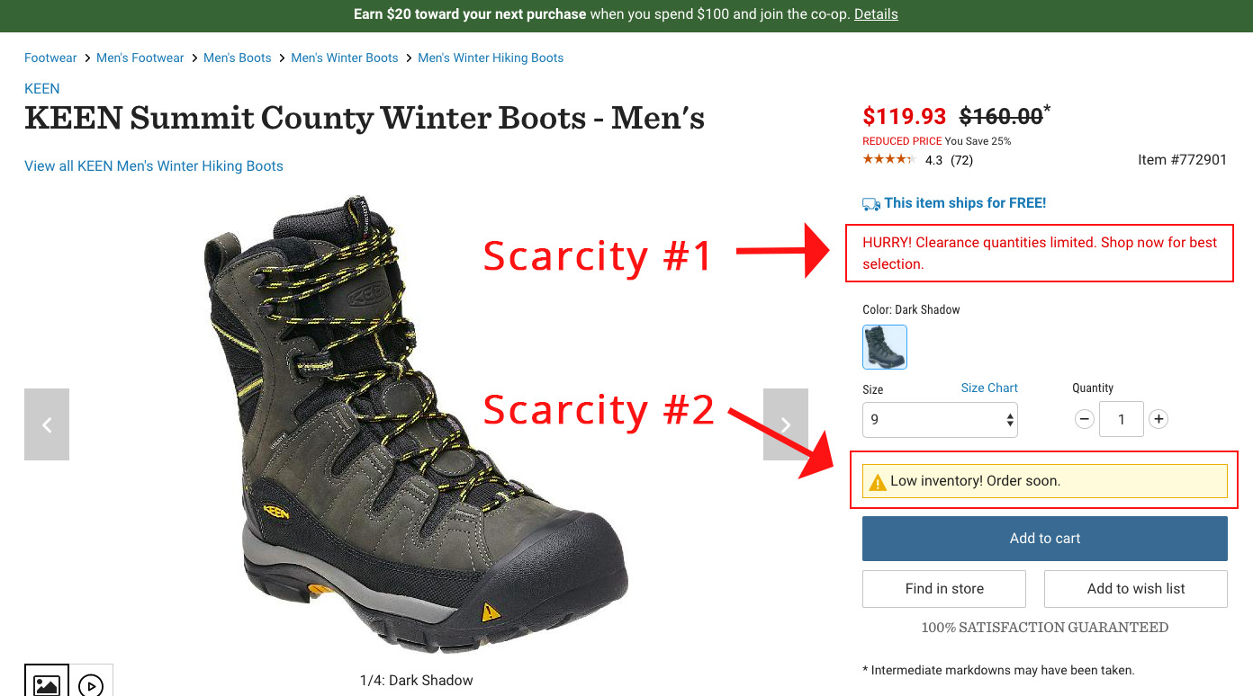Screenshot showing a product page for a pair of boots