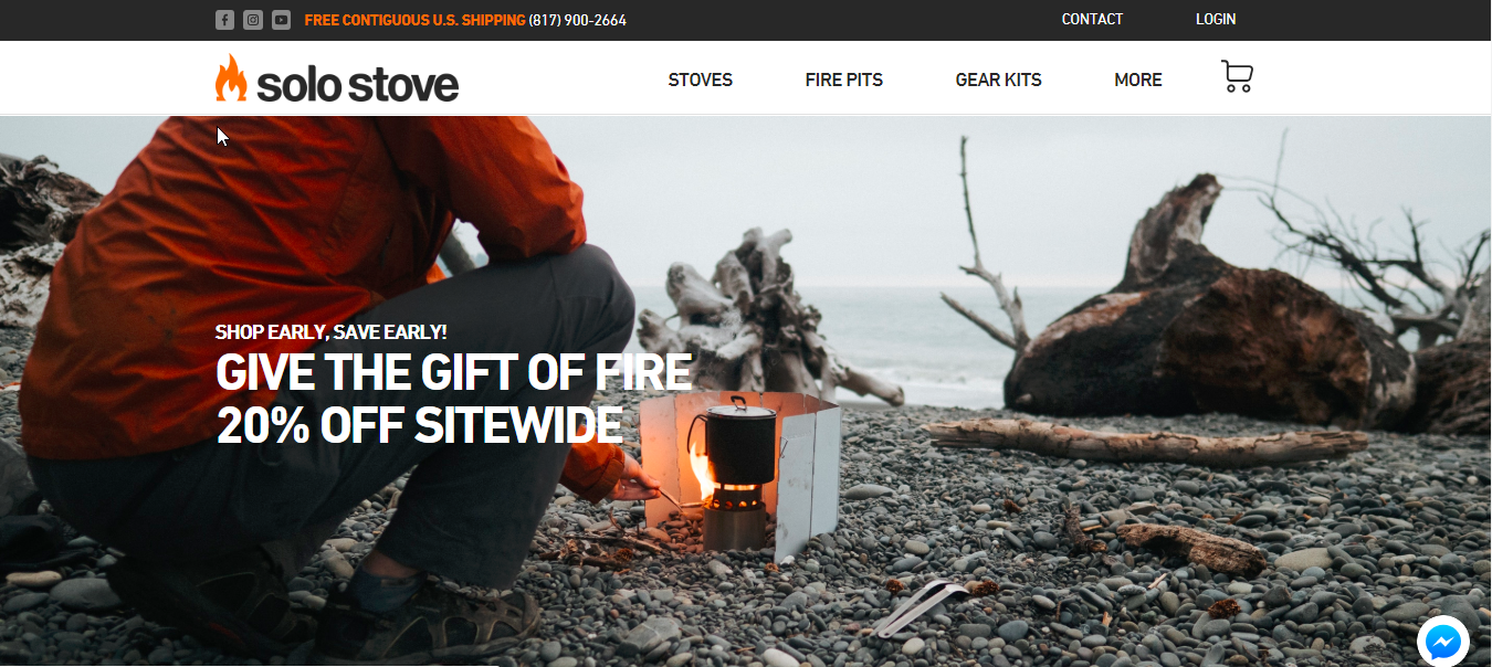 Screenshot showing the landing page on solo stove