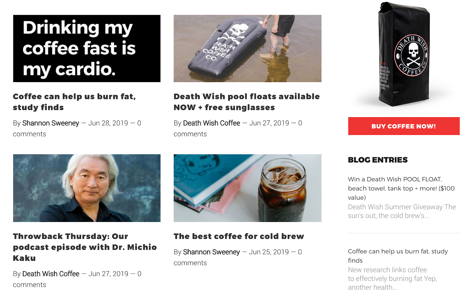 Screenshot of Death Wish Coffee blog
