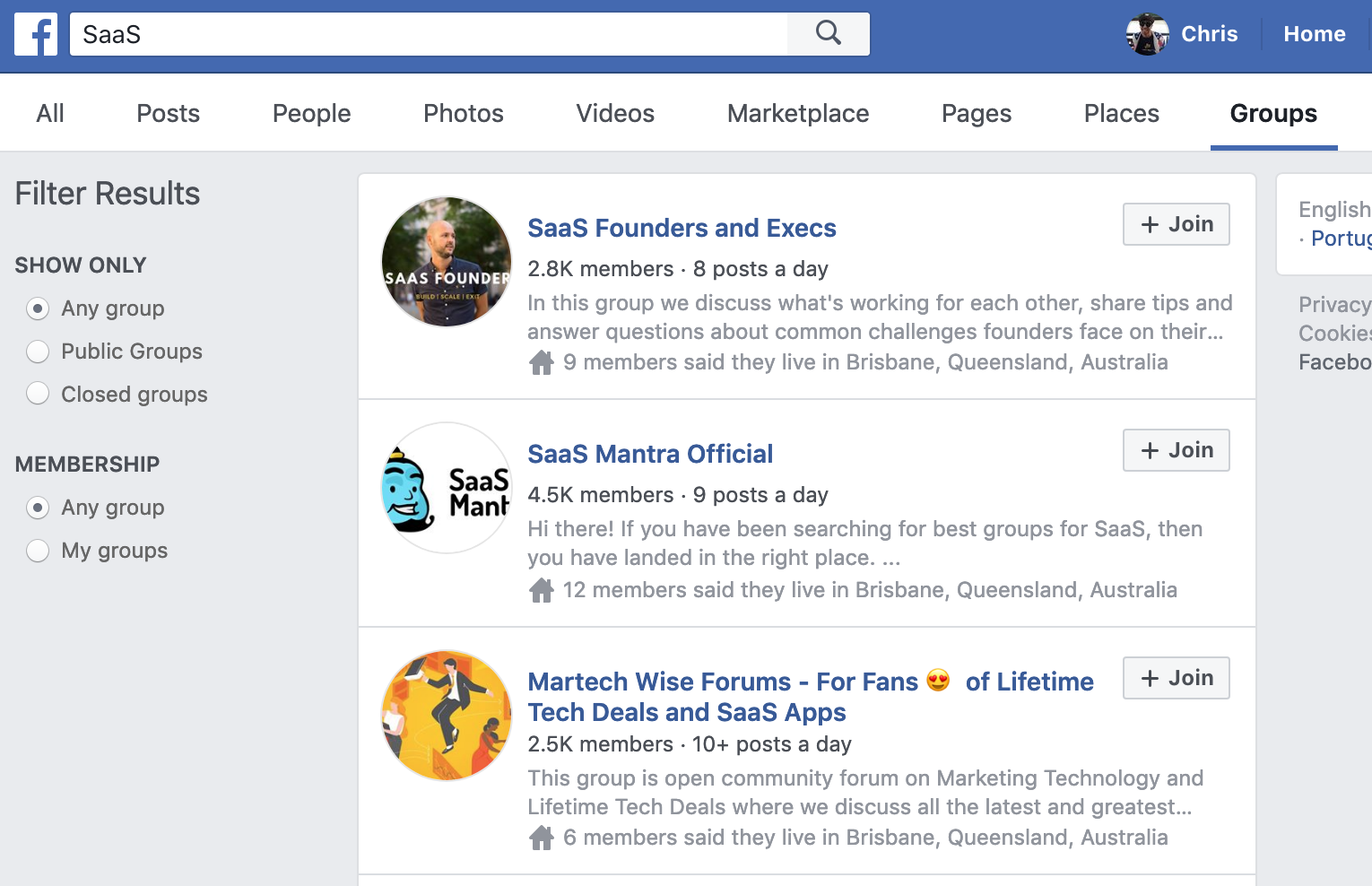 Screenshot showing Facebook groups