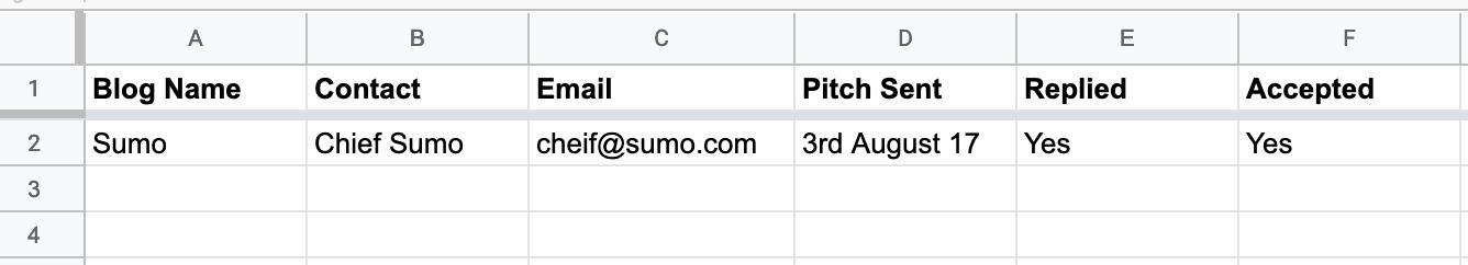 Screenshot showing outreach spreadsheet
