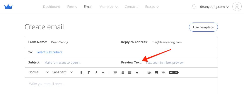 Screenshot of Sumo email editor