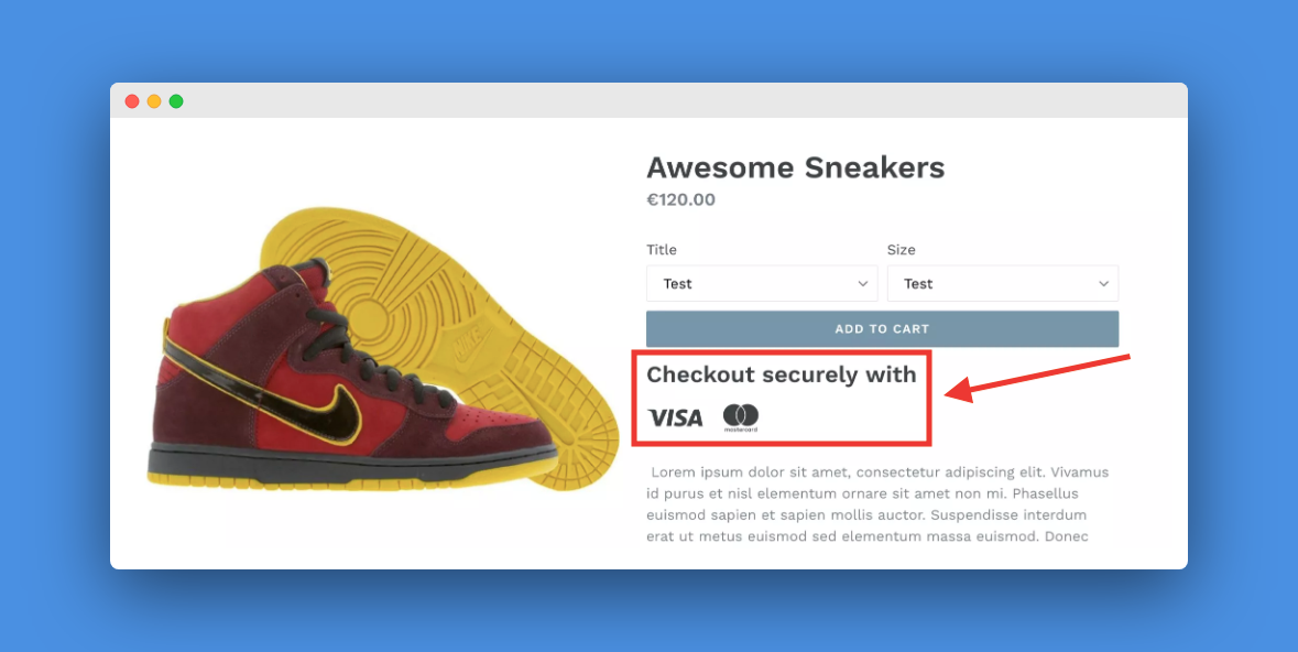 Screenshot showing trust badges on ecommerce product page