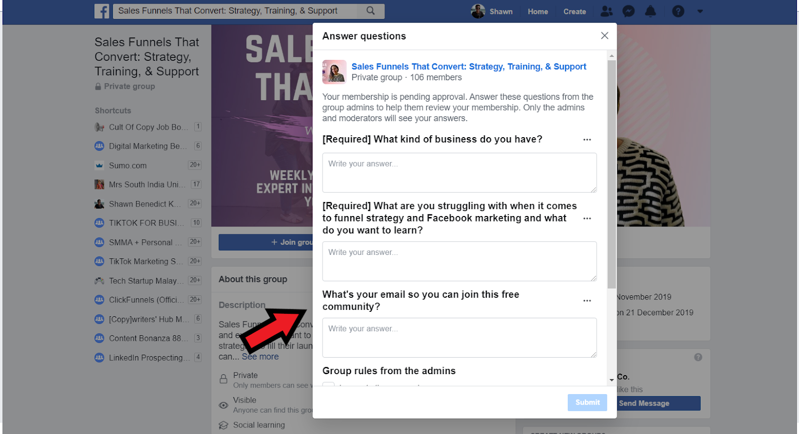 How To Build An Email List: Screenshot of questions to join Facebook group, which includes request for email address