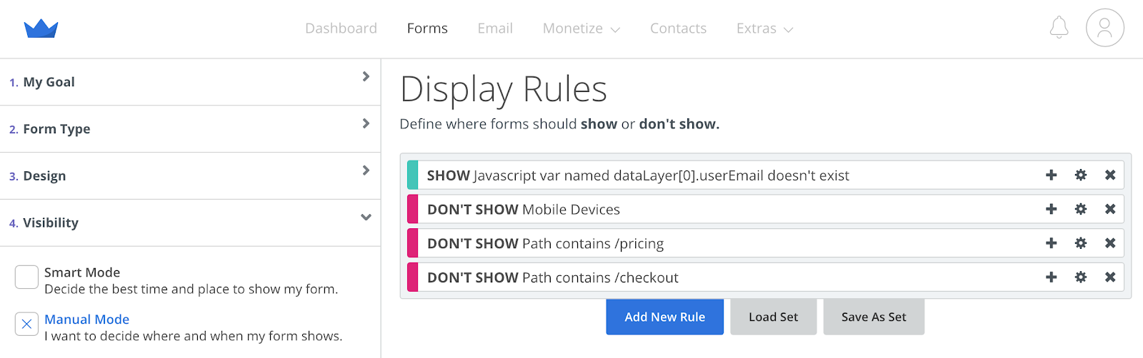 Screenshot of Display Rules for Welcome Mat