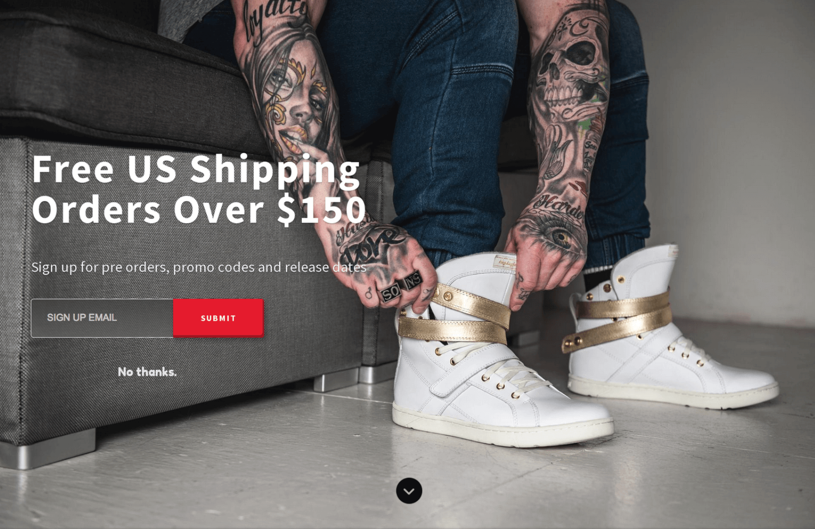 Screenshot showing a free shipping welcome mat