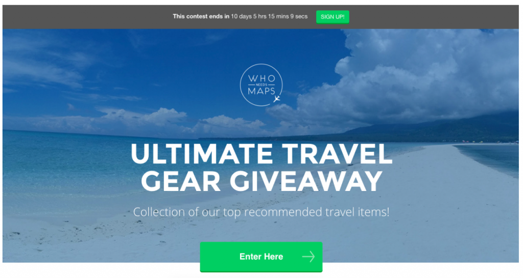 Screenshot showing a giveaway landing page