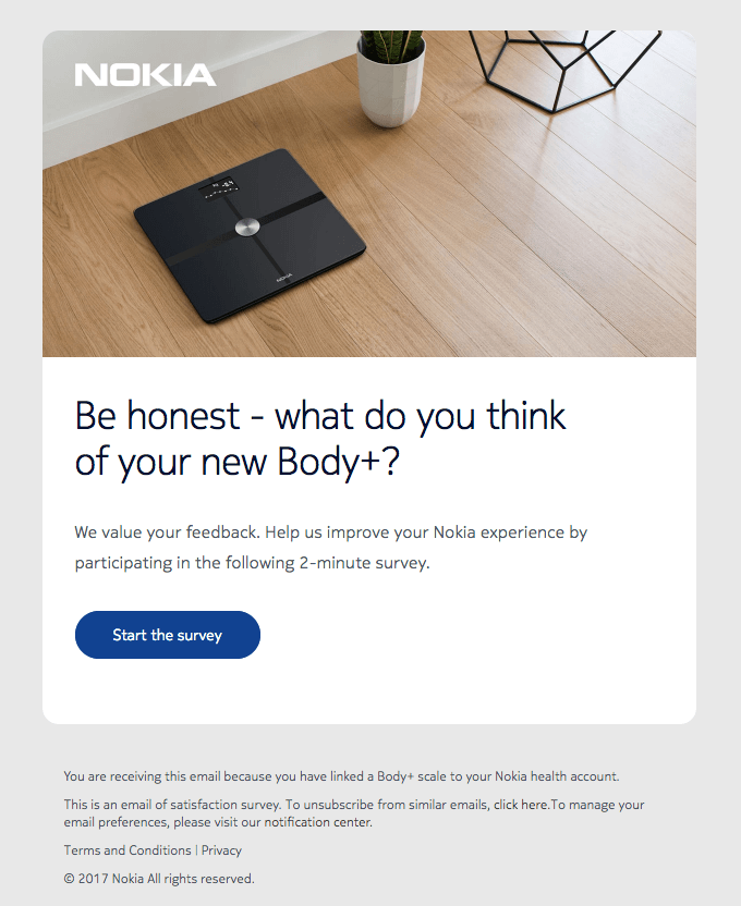 Screenshot showing a survey email by Nokia