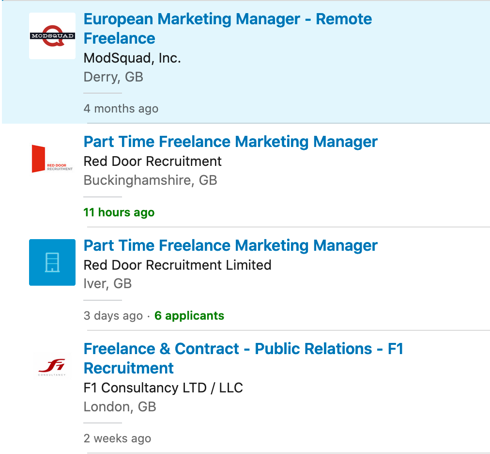 Screenshot of LinkedIn freelance roles search result