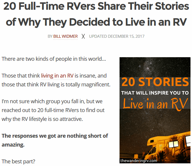 Screenshot showing information and copy about an RV story