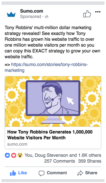 Screenshot showing a content promotion ad on Facebook published by Sumo