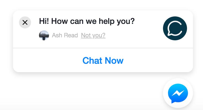 Screenshot showing a messenger chatbot popup