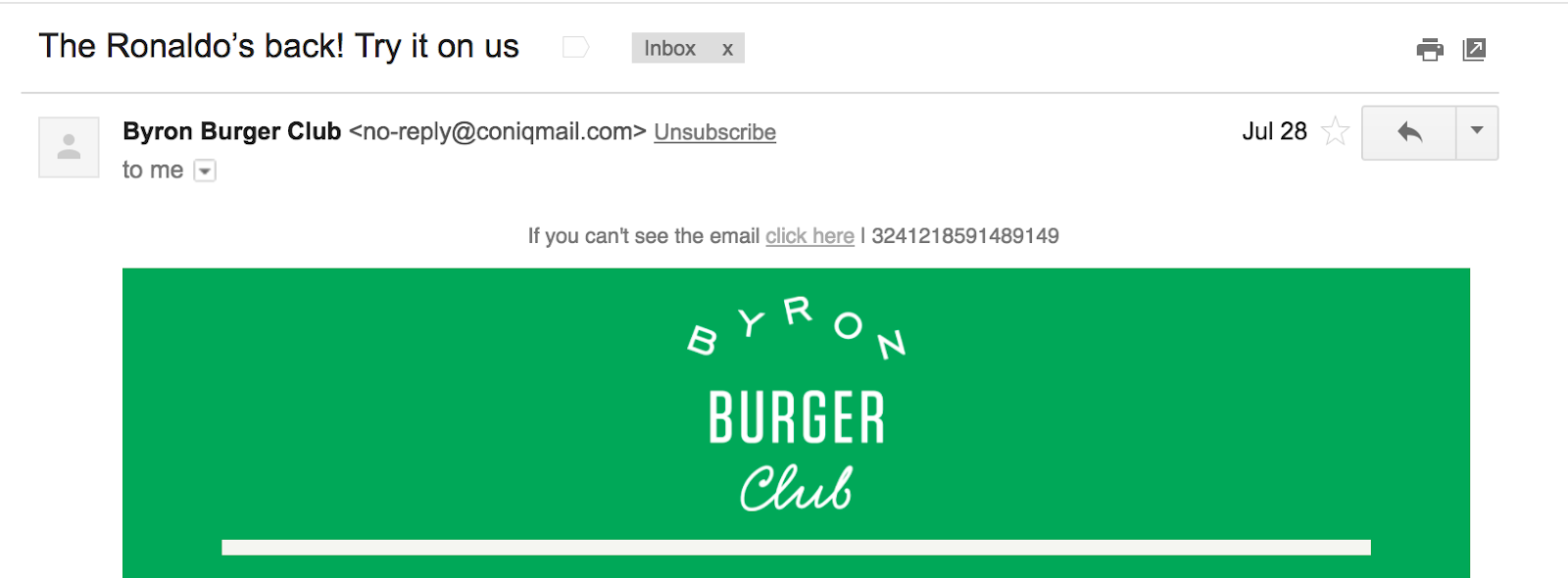 Best Email Subject Lines: Screenshot of email from Byron Burger